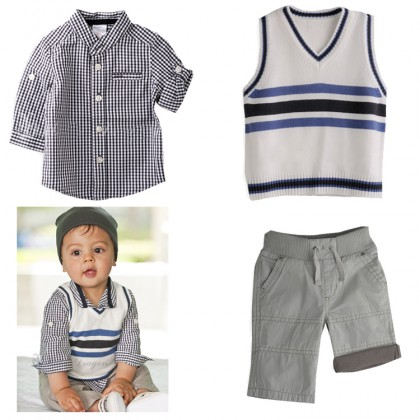 Boy Set 3pcs Top+Pant+Vest