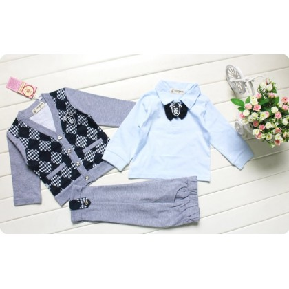 Boy Suit 3pcs Long Sleeves Top+ Vest+Pant