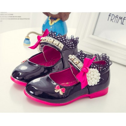 Girl Elegance Shoes- Black with Pearl