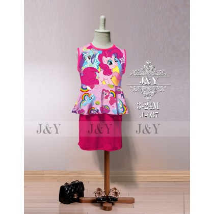 Cartoon FROZEN, HELLO KITTY, LITTLE PONY, MINNIE Mini Skirt Peplum Set 2pcs(Top+Skirt) - (J&Y) SIZE 3-24M