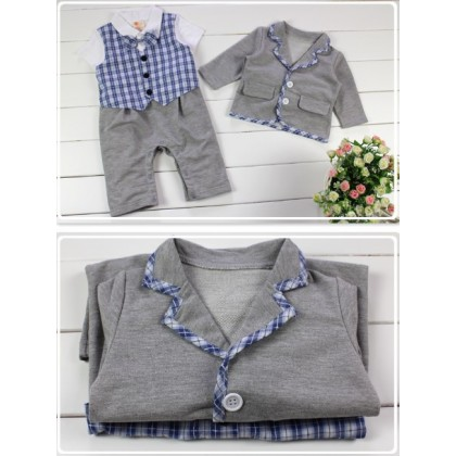 Boy Smart Suit 2pcs set Romper + Jacket 11477 (Blue/Grey)