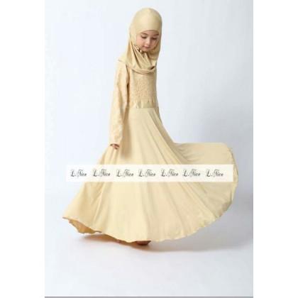 Jubah Lace Dress + Tudung- (L NICE) SIZE 1-6Y