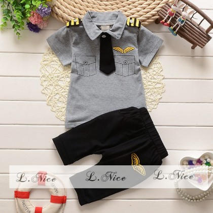 [READY STOCK] LNICE Mr Pilot Boy Top+Pant Set