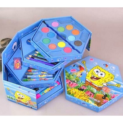 46 pieces CARTOON COLOR ART DRAWING GIFTSET -Disney HELLO KITTY, CARS MCQUEEN, MICKEY, FROZEN, BARBIE, PRINCESS, POOH, SPONGEBOB, SPIDERMAN