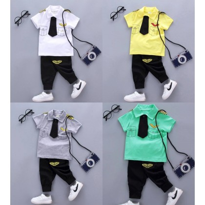 [READY STOCK] Mr Pilot Boy/Girl Top+Pant Set