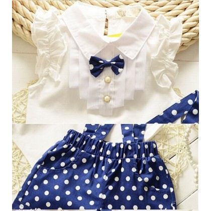 [READY STOCK] 2PCS Cute Girl Korean Jumpsuit Set -Blue