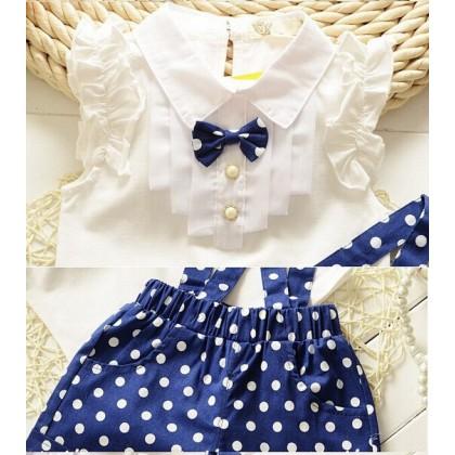 [READY STOCK] 2PCS Cute Girl Korean Jumpsuit Set -Blue