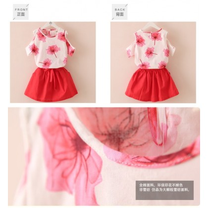 [READY STOCK] 2PCS Cute Girl Korean Style Fashion Set -Red