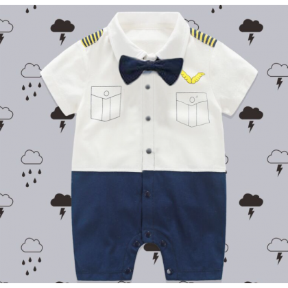 [READY STOCK] Baby Boy Mr Pilot Romper short sleeves