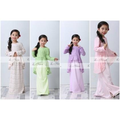 [READY STOCK] Elegance Peplum Lace Kurung (LNICE) SIZE 2-12Y