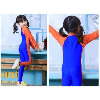 [READY STOCK] Boy/Girl Long Sleeves Kids Swimming Suit LightBlue