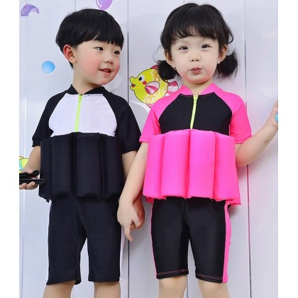 [READY STOCK] Girl Kids Floating Swimming Suit + Cap -PINK