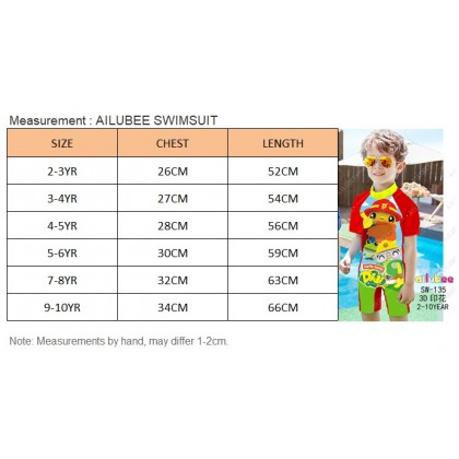[READY STOCK] Ailubee short Sleeves Swimming Suit SW135 DIDI & FRIENDS