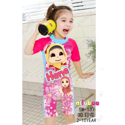 [READY STOCK] Ailubee short Sleeves Swimming Suit SW137 HANA