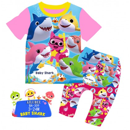 [READY STOCK] BABY SHARK Ailubee Kids Pyjamas (BA309 / 543) 3-6M