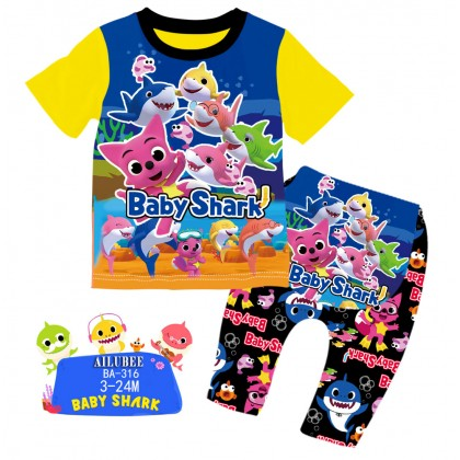 [READY STOCK] BABY SHARK Ailubee Kids Pyjamas (BA316 / 550) 3-6M