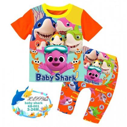 [READY STOCK] BABY SHARK Happykids Kids Pyjamas (KB001) 3-6M , 6-12M