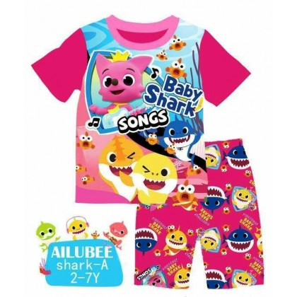 [READY STOCK] BABY SHARK Ailubee Kids Top+Short Pant (A) 2-7Y