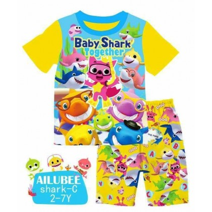 [READY STOCK] BABY SHARK Ailubee Kids Top+Short Pant (C) 2-7Y
