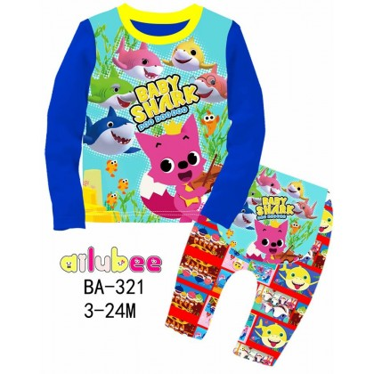 [READY STOCK] BABY SHARK Ailubee Kids Pyjamas (BA321 / 555) 3-6M, 6-12M