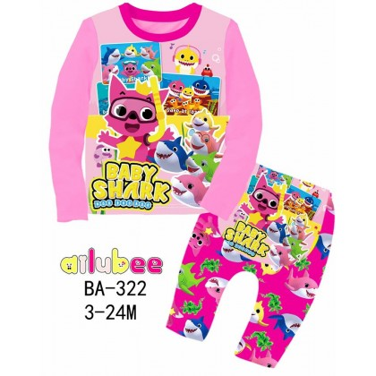 [READY STOCK] BABY SHARK Ailubee Kids Pyjamas (BA322) 3-6M