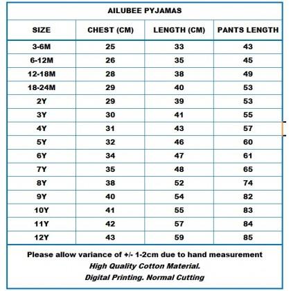 [READY STOCK] BABY SHARK Ailubee Kids Pyjamas (BA347 / 581) 3M-6M
