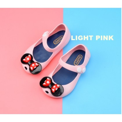 Kids Cartoon Jelly Shoes Sandal -Cute Polkadot Bow Tie