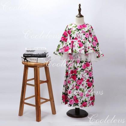 [READY STOCK] COOLELVES Flower Peplum Dress -PINK