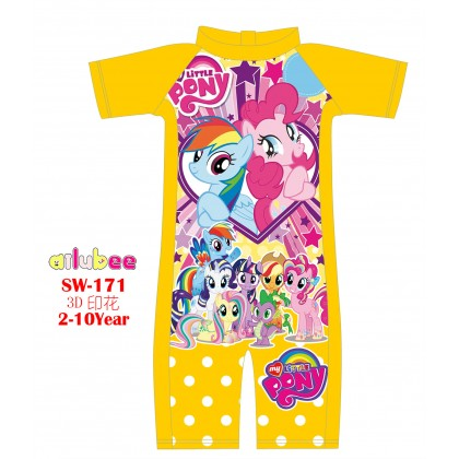 [READY STOCK] Ailubee short Sleeves Swimming Suit SW171 MY LITTLE PONY