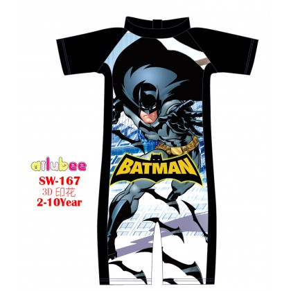 [READY STOCK] Ailubee short Sleeves Swimming Suit SW167 BATMAN