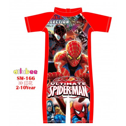 [READY STOCK] Ailubee short Sleeves Swimming Suit Baju Renang SW166 SPIDERMAN