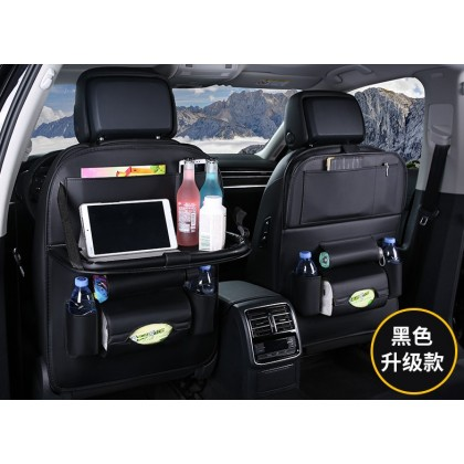[READY STOCK] Luxury Leather Car BackSeat Organizer with Folding Table - BLACK