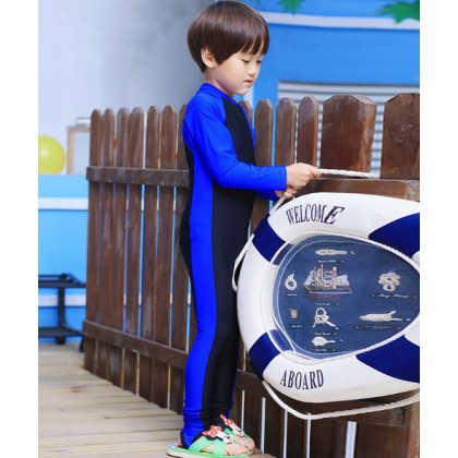 [READY STOCK] Boy/Girl Long Sleeves Kids Swimming Suit BlackBlue