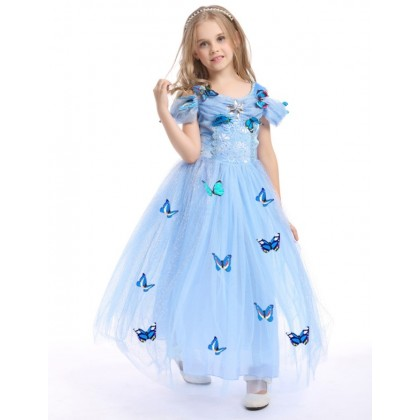 Disney Cinderella Elegance Costume Dress with butterfly_BLUE