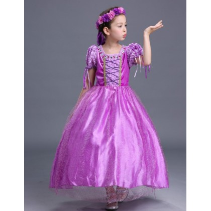 Disney Princess Rapunzel Elegance Costume Dress + Free 1 pair Sleeve