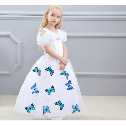 Disney Cinderella Elegance Costume Dress with butterfly_WHITE
