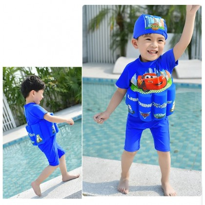 [READY STOCK] Boy/Girl Kids Floating Swimming Suit Baju Renang Swimwear + Cap - CARS