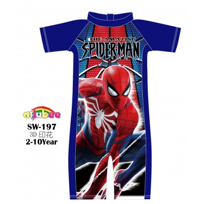 [READY STOCK] Ailubee short Sleeves Swimming Suit Baju Renang SW197 SPIDERMAN