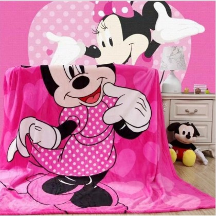 [READY STOCK] Minnie Super Soft Coral Fleece Blanket Selimut Bigger Size 1.5x2M
