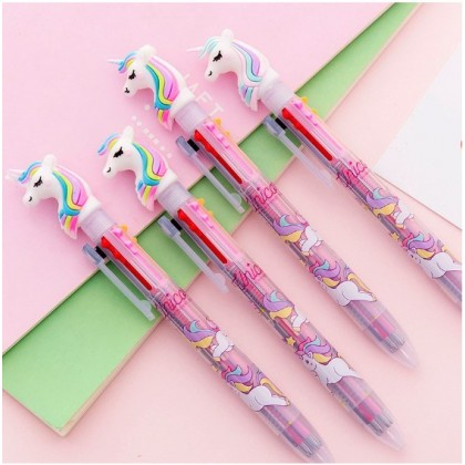 Cute & Creative Unicorn 6-color refill press multi-function ballpoint pen