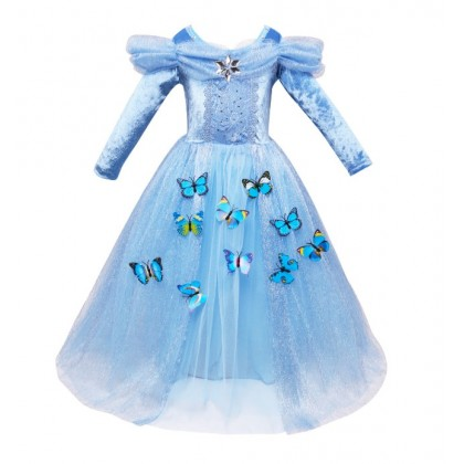 Disney Cinderella Cosplay Costume Long Sleeves Dress with butterfly_BLUE