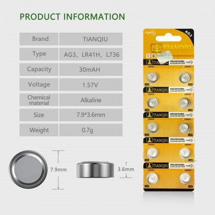 10 PCS AG3 LR41 Button Battery for LED Shoes & Projection Watch