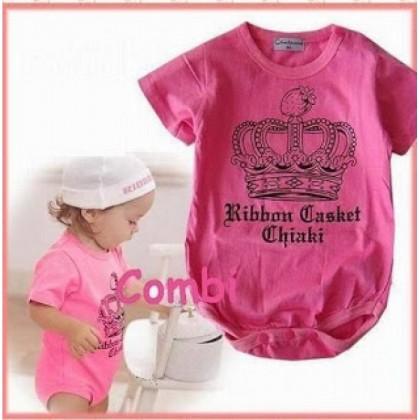 >RM10 CORNER< Pink Crown  Baby Romper