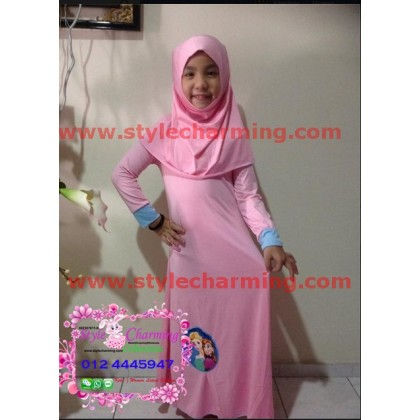 Frozen Jubah Dress - Light Pink