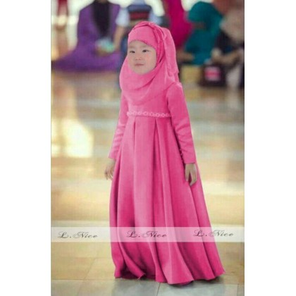 Jubah Dress + Shawl- Pink (LNice)