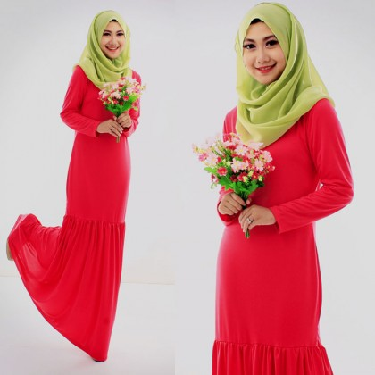 Round Neck Basic Jubah Dress (Including Shawl)-Dark Pink