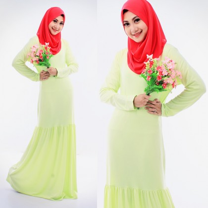 Round Neck Basic Jubah Dress (Including Shawl)-Light Green