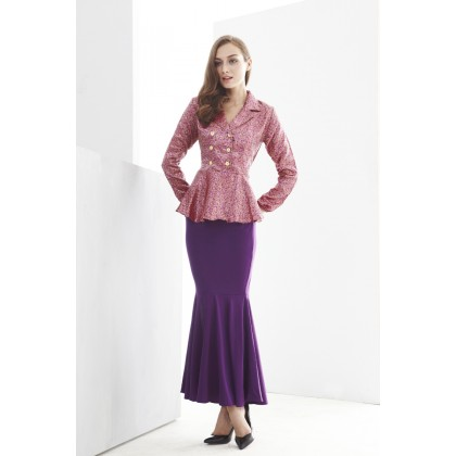 2 Pieces Double Row Button Peplum Top with Mermaid Style Skirt -Jubah