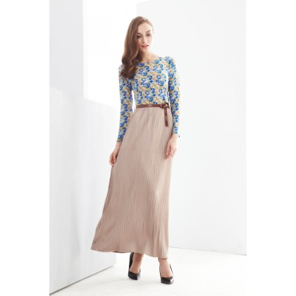 2 Pieces Joint Flower Printed Pleated Jubah Dress (With Belt)