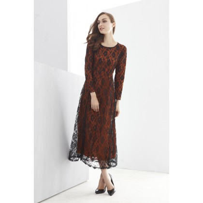 2 Pieces Joint Floral Lace Design Jubah Dress